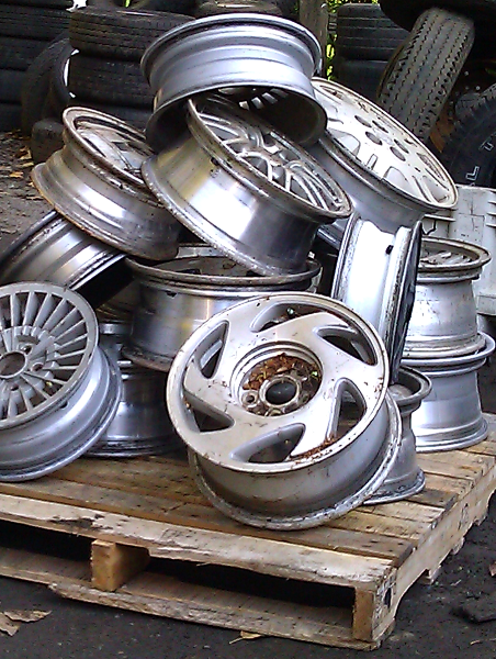 pile of wheel rims